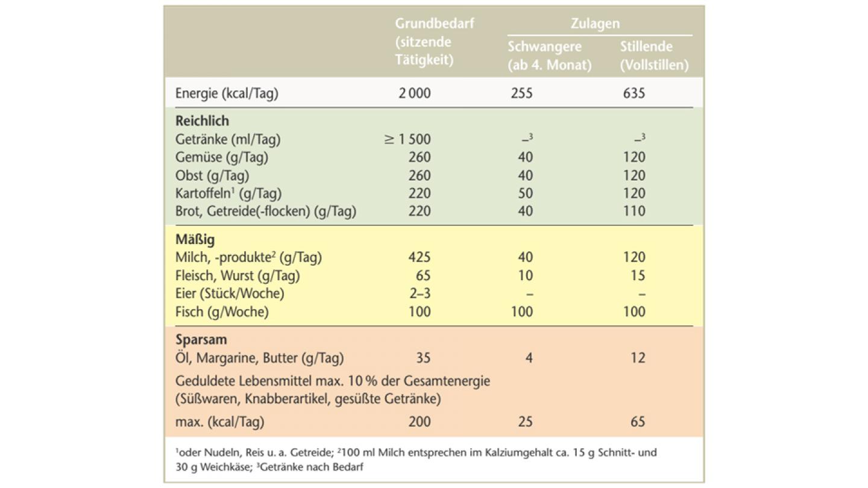 Anhaltswerte für Lebensmittelverzehrmengen für Schwangere und Stillende